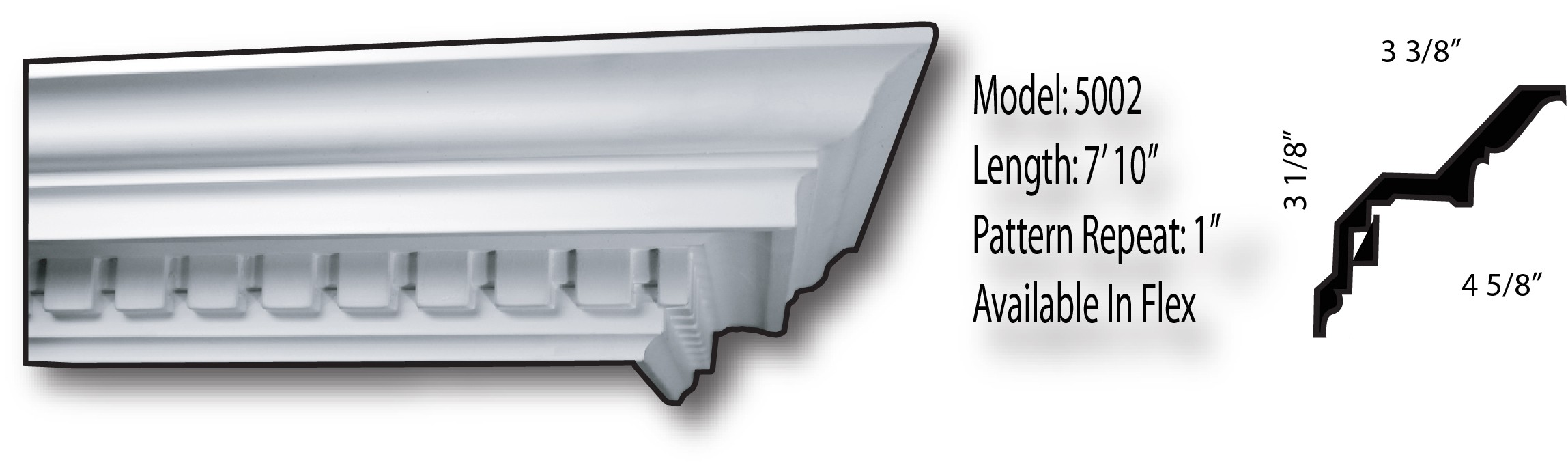 """Rigid Crown Molding: 3-3/8"""" projection, 3-1/8"""" drop, 4-5/8"""" tip to tip"""